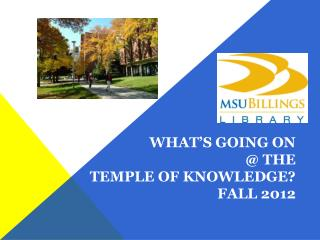 What's going on @ the temple of Knowledge? Fall 2012