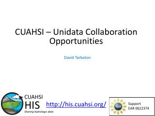 CUAHSI –  Unidata  Collaboration Opportunities
