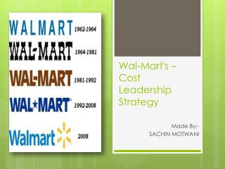 Wal-Mart's – Cost Leadership Strategy