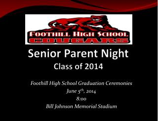 Senior Parent Night Class of 2014