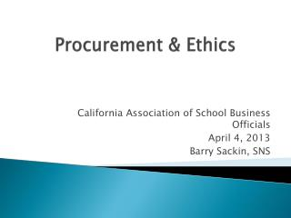 Procurement & Ethics