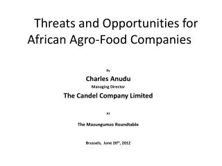 Threats and Opportunities for African Agro-Food Companies