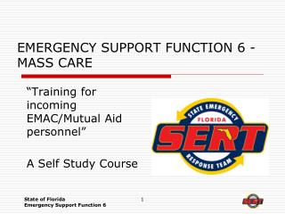 EMERGENCY SUPPORT FUNCTION 6 - MASS CARE