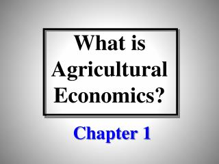 What is Agricultural Economics?