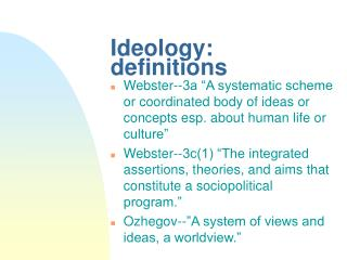 Ideology: definitions