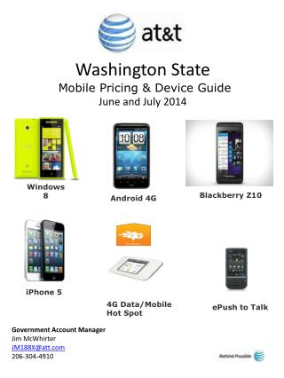 Washington State  Mobile Pricing & Device Guide June and  July  2014