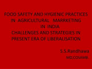 Agricultural Marketing  means the flow of agricultural produce and the activities undertaken after the production till i