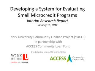 Developing a System for Evaluating Small Microcredit Programs  Interim Research Report January 10, 2012
