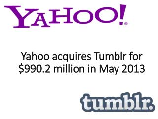 Yahoo acquires Tumblr for $990.2 million in May 2013