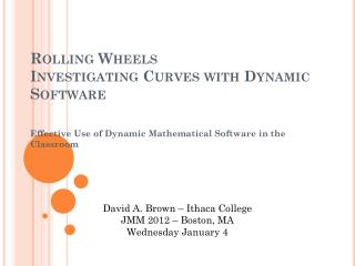Rolling Wheels Investigating Curves with Dynamic Software
