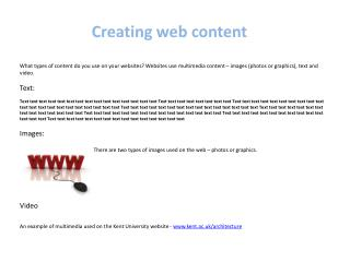 Creating web content