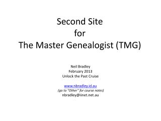 Second Site for The Master Genealogist (TMG)