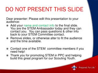 DO NOT PRESENT THIS SLIDE