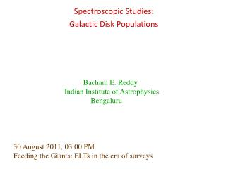 Spectroscopic Studies:  Galactic Disk Populations