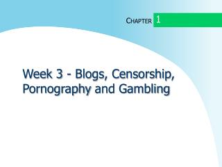 Week 3 - Blogs, Censorship ,  Pornography  and Gambling