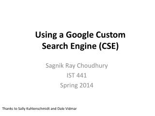 Using a Google Custom Search Engine (CSE)