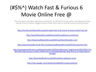 (#$%^) Watch Fast & Furious 6 Movie Online Free @