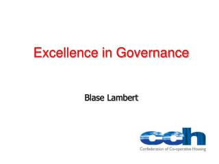 Excellence in Governance Blase Lambert