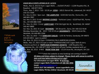 LOGAN WELLS EVENTS LISTINGS AS OF   11/5/13