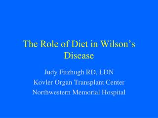 The Role of Diet in Wilson's Disease
