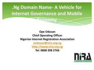 .Ng Domain Name- A Vehicle for Internet Governance and Mobile Economy