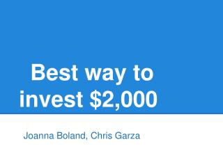 Best way to invest $2,000