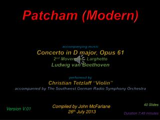 Patcham (Modern) accompanying music Concerto  in D  major,  Opus 61