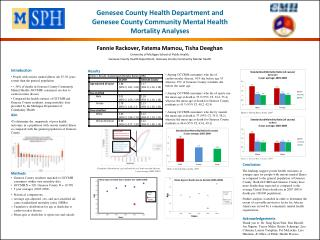 Genesee County Health Department and  Genesee County Community Mental Health  Mortality Analyses