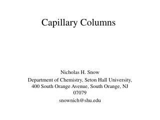 Capillary Columns