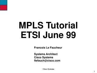 MPLS Tutorial ETSI June 99