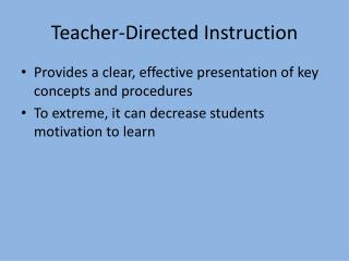 Teacher-Directed Instruction