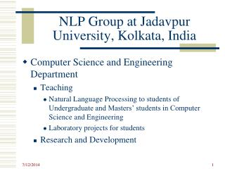 NLP Group at  Jadavpur  University, Kolkata, India