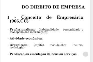 DO DIREITO DE EMPRESA
