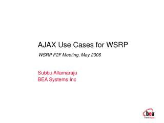 AJAX Use Cases for WSRP