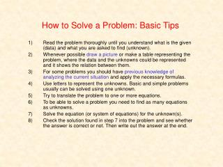How to Solve a Problem: Basic Tips
