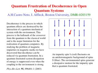Quantum Frustration of Decoherence in Open Quantum Systems A.H.Castro Neto, I. Affleck, Boston University, DMR-0203159