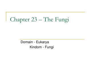 Chapter 23 – The Fungi