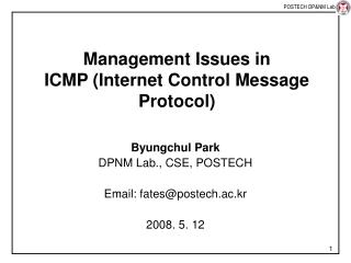 Management Issues in ICMP (Internet Control Message Protocol)