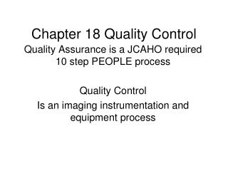 Chapter 18 Quality Control