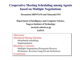 Cooperative Meeting Scheduling among Agents based on Multiple Negotiations