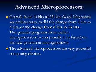 Advanced Microprocessors