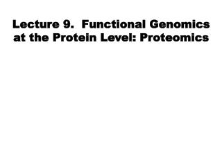 Lecture 9.  Functional Genomics at the Protein Level: Proteomics