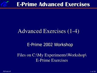 E-Prime Advanced Exercises