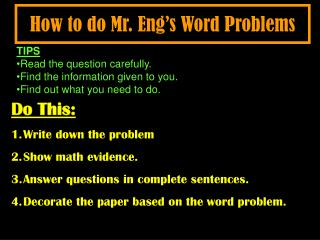 How to do Mr. Eng's Word Problems