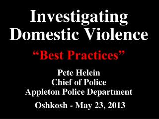 Investigating Domestic Violence
