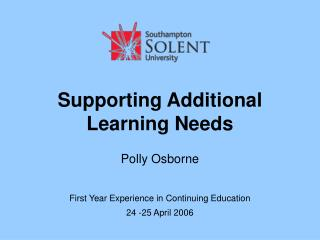 Supporting Additional Learning Needs