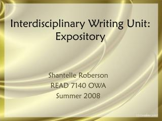 Interdisciplinary Writing Unit: Expository