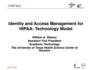 Identity and Access Management for HIPAA: Technology Model