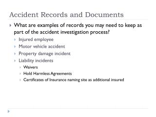 Accident Records and Documents