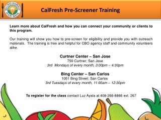 CalFresh Pre-Screener Training